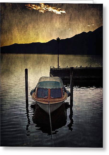 Boat During Sunset Greeting Card by Joana Kruse