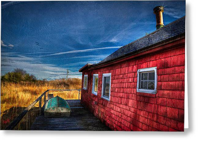 Saybrook Greeting Cards - Boat House Greeting Card by Michael Petrizzo