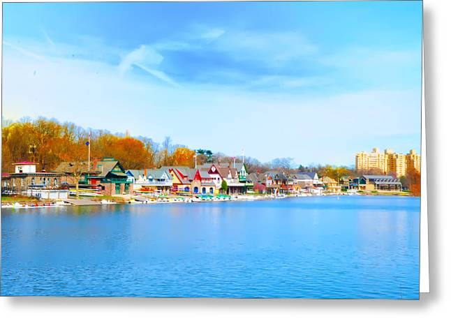 Boat House Row from West River Drive Greeting Card by Bill Cannon