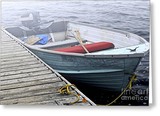 Foggy Ocean Greeting Cards - Boat in a fog Greeting Card by Elena Elisseeva