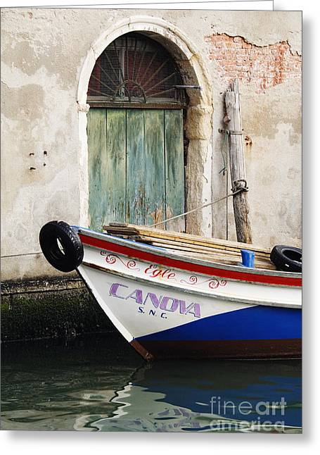 Boat In Canal Greeting Card by Jeremy Woodhouse