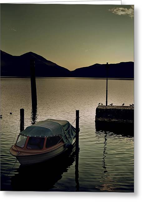 Desert Lake Greeting Cards - Boat In Sunset Greeting Card by Joana Kruse