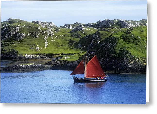 Co Galway Greeting Cards - Boat In The Sea, Galway Hooker, County Greeting Card by The Irish Image Collection