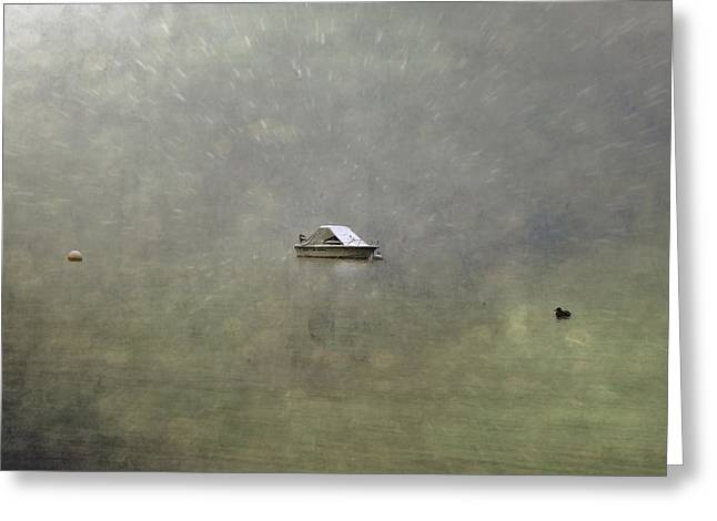 Winter Storm Photographs Greeting Cards - Boat In The Snow Greeting Card by Joana Kruse