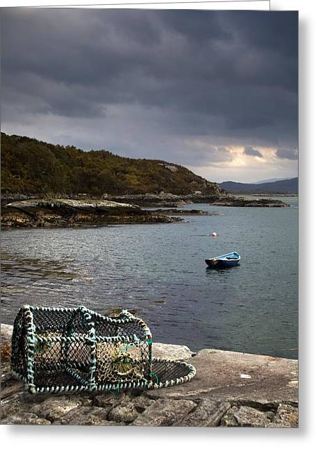 Lobster Pot Greeting Cards - Boat In The Water, Loch Sunart, Scotland Greeting Card by John Short