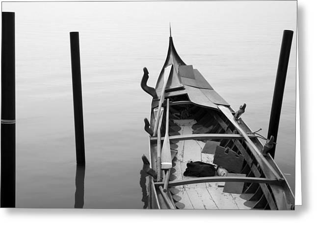 Sunset Posters Greeting Cards - Boat in Venecia Greeting Card by Zarija Pavikevik