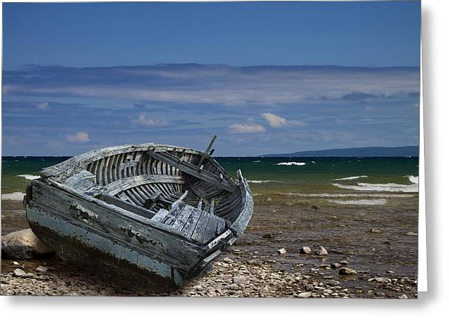 Row Boat Greeting Cards - Boat lying shipwrecked on a Lake Michigan Shore Greeting Card by Randall Nyhof