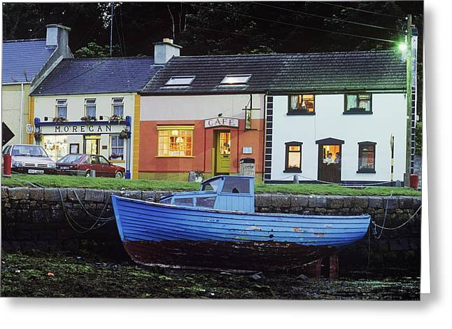 Night Cafe Greeting Cards - Boat Moored At A Harbor, Kinvara Greeting Card by The Irish Image Collection