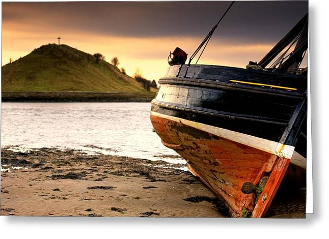 Short Sands Greeting Cards - Boat On Beach At Low Tide Alnmouth Greeting Card by John Short