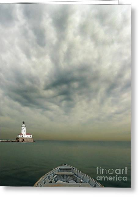 Boats On Water Greeting Cards - Boat On Calm Sea With Stormy Sky And Lighthouse Greeting Card by Jill Battaglia