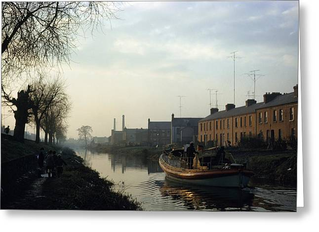 Ground Level Greeting Cards - Boat On Grand Canal, Dublin City Greeting Card by The Irish Image Collection
