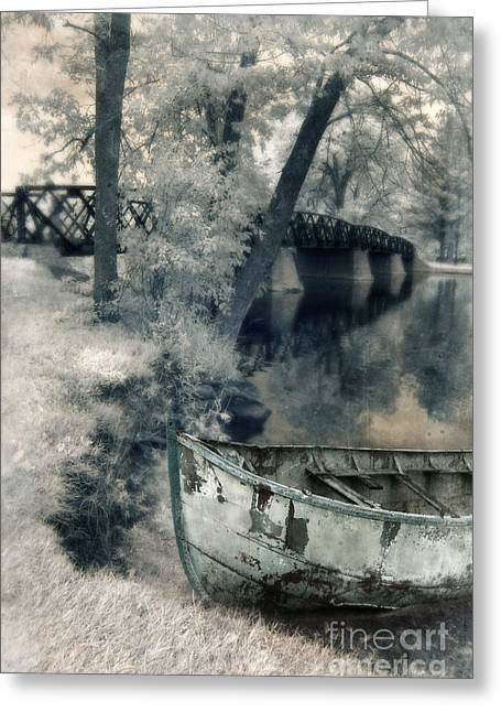 Row Boat Greeting Cards - Boat on Riverbank Greeting Card by Jill Battaglia