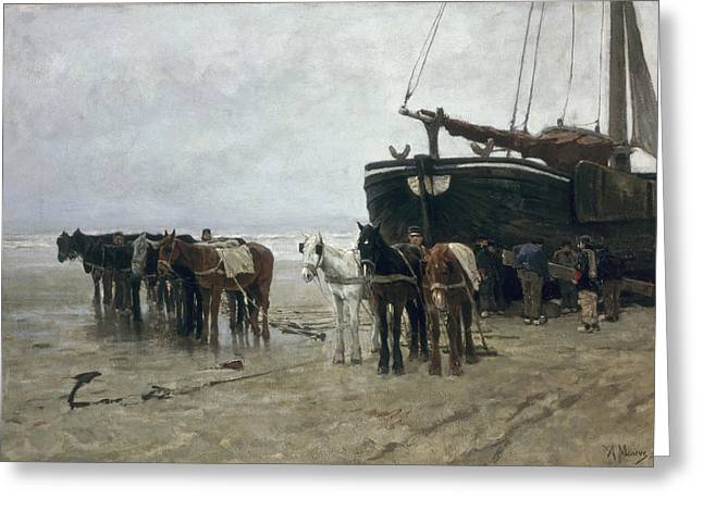 1876 Greeting Cards - Boat on the Beach at Scheveningen Greeting Card by Anton Mauve