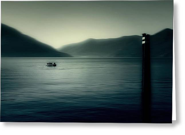 Tessin Greeting Cards - boat on the Lake Maggiore Greeting Card by Joana Kruse