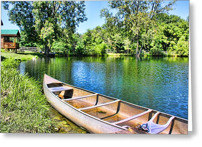 Green Day Greeting Cards - Boat On The Pond Greeting Card by Beth Hammond-Orick