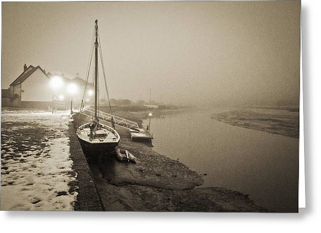 Boat on wintry quay Greeting Card by Gary Eason
