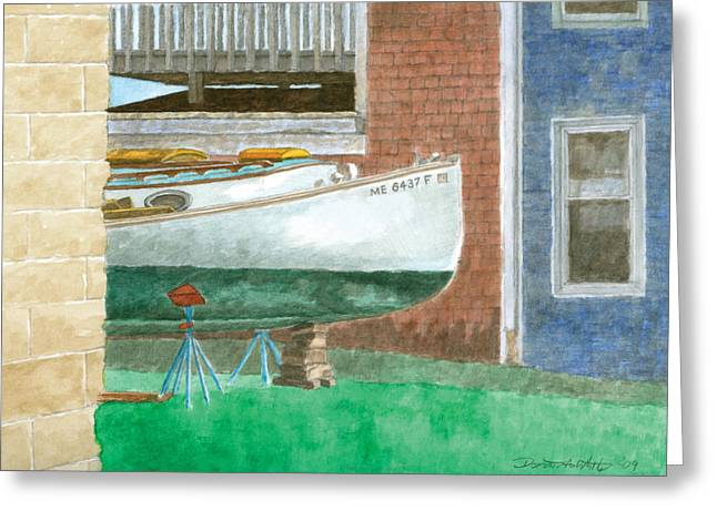 Real Life Greeting Cards - Boat out of Water - Portland Maine Greeting Card by Dominic White