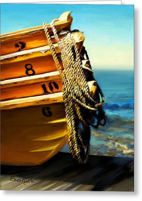 Suni Roveto Greeting Cards - Boat Ropes Greeting Card by Suni Roveto
