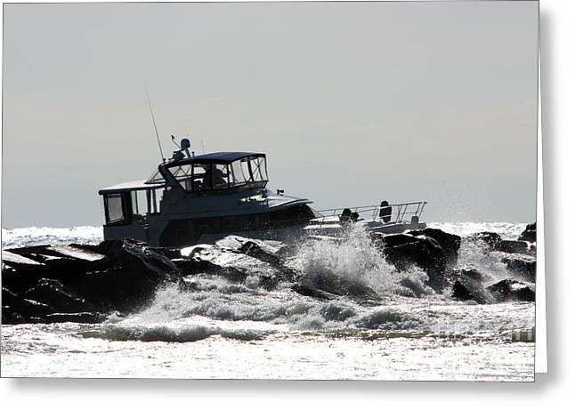Slam Greeting Cards - Boat running aground on rocks Greeting Card by Christopher Purcell