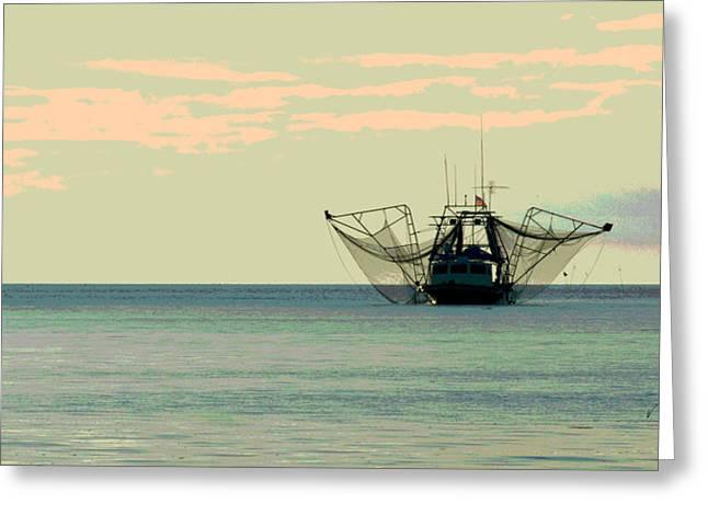 Hurricane Katrina Greeting Cards - Boat Series 30 Shrimp Boat Gulf of Mexico Louisiana Greeting Card by Paul Gaj