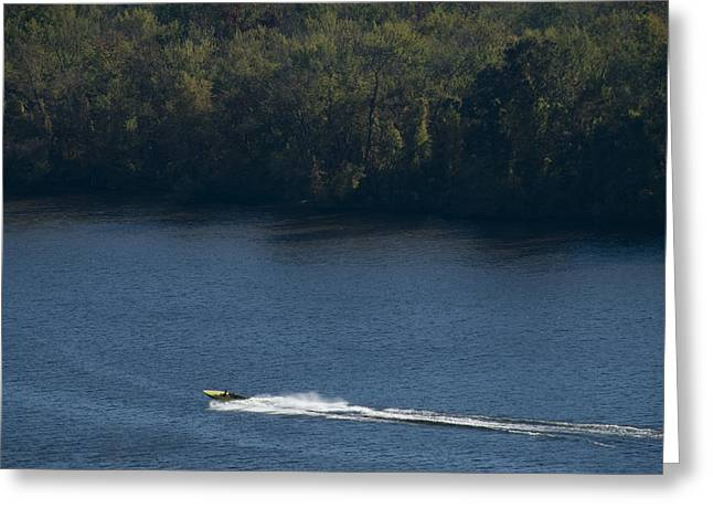 East Haddam Connecticut Greeting Cards - Boat Speeding Down The Connecticut River Greeting Card by Todd Gipstein
