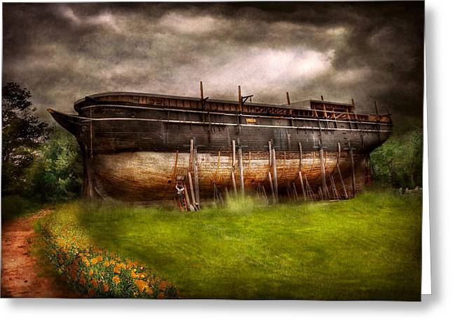 Fabled Greeting Cards - Boat - The construction of Noahs Ark Greeting Card by Mike Savad