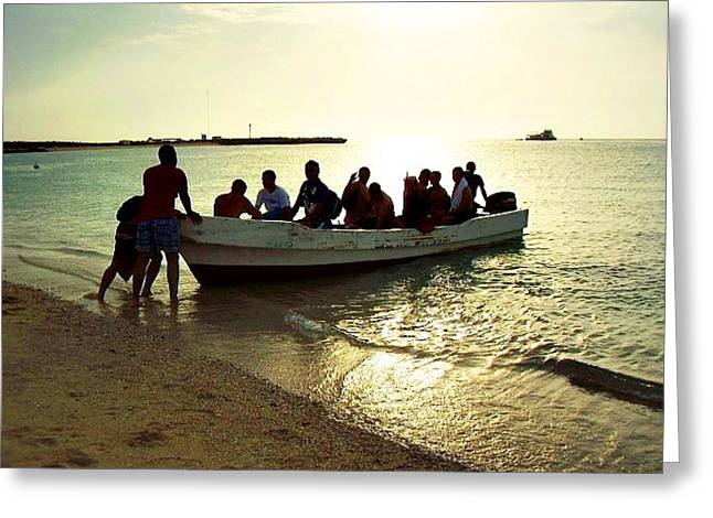 Boat With People Greeting Card by Jenny Senra Pampin