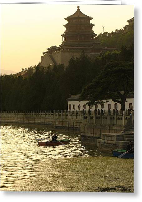 Summer Palace Greeting Cards - Boaters On Kunming Lake At The Summer Greeting Card by Richard Nowitz