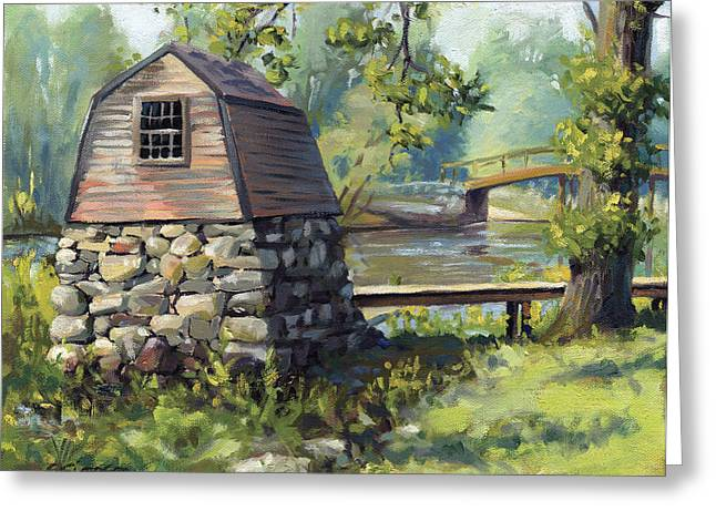 Concord Greeting Cards - Boathouse and Battle Bridge Greeting Card by Steven A Simpson