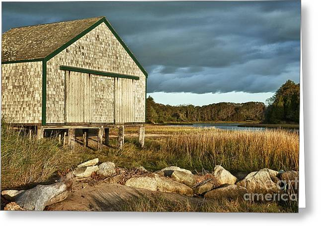 Boathouse Greeting Card by John Greim