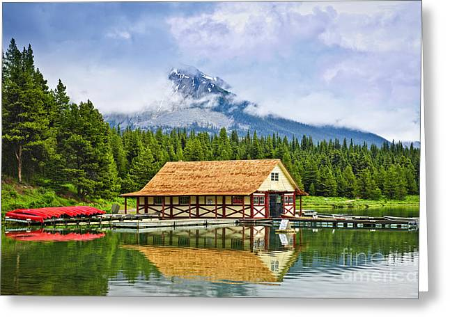 Canoe Greeting Cards - Boathouse on mountain lake Greeting Card by Elena Elisseeva
