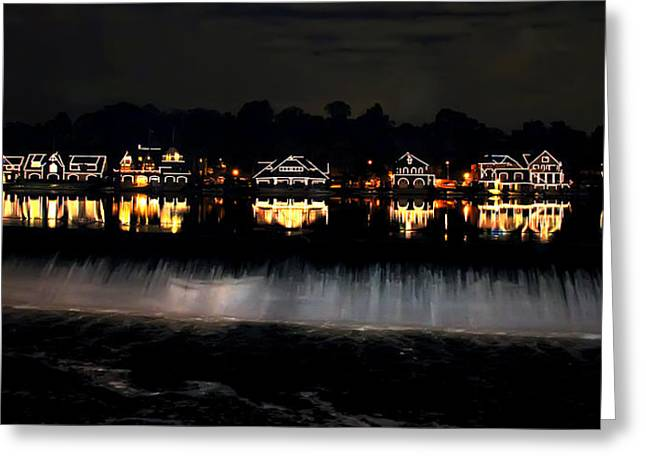 Boathouse Greeting Cards - Boathouse Row After Dark Greeting Card by Bill Cannon