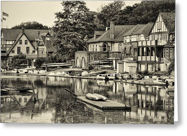 Boathouse Greeting Cards - Boathouse Row in Sepia Greeting Card by Bill Cannon