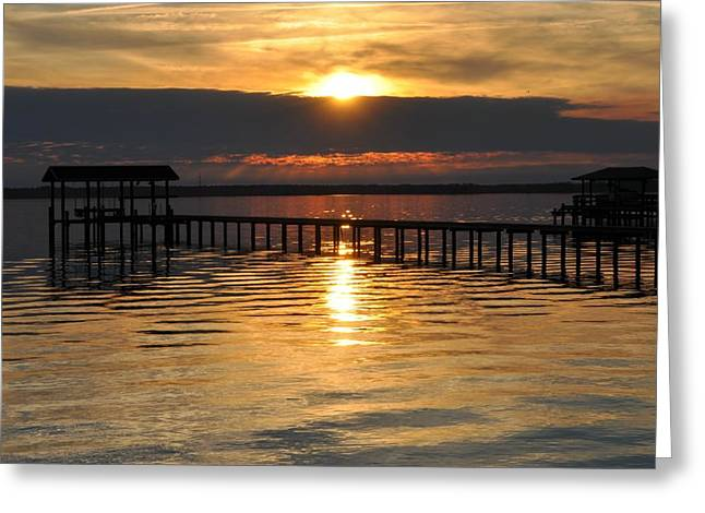 Boathouses At Sunset Greeting Card by Tiffney Heaning