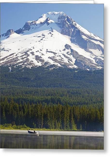 Snow Capped Greeting Cards - Boating In Trillium Lake With Mount Greeting Card by Craig Tuttle