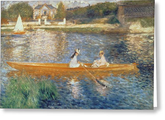 Sailing Greeting Cards - Boating on the Seine Greeting Card by Pierre Auguste Renoir