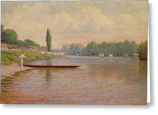 Rowers Paintings Greeting Cards - Boating on the Thames Greeting Card by John Mulcaster Carrick