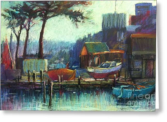 Dock Pastels Greeting Cards - Boatmans Retreat Greeting Card by Pamela Pretty