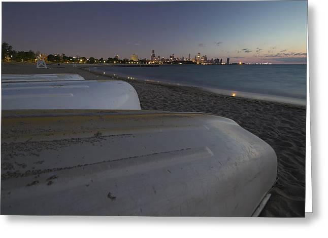Lake Michgan Greeting Cards - Boats And  Beach At Dawn Greeting Card by Sven Brogren