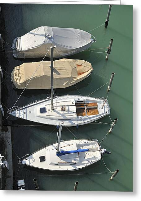 Sailboat Photos Greeting Cards - Boats and water from above Greeting Card by Matthias Hauser