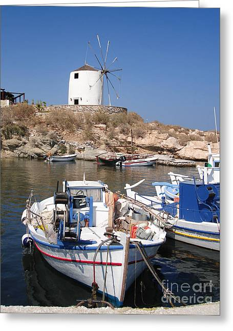 Mediterranean Landscape Greeting Cards - Boats and windmill Greeting Card by Jane Rix