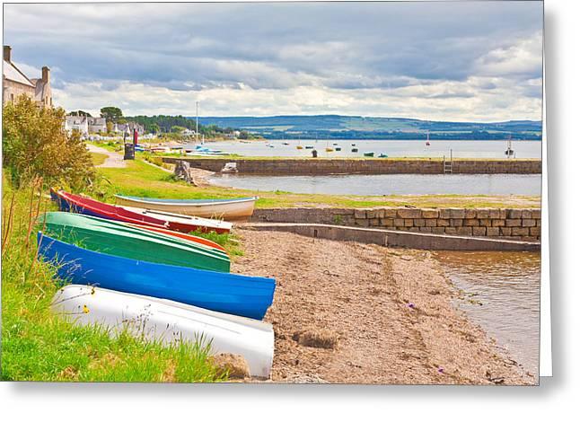 Sea Shore Greeting Cards - Boats at Findhorn Greeting Card by Tom Gowanlock