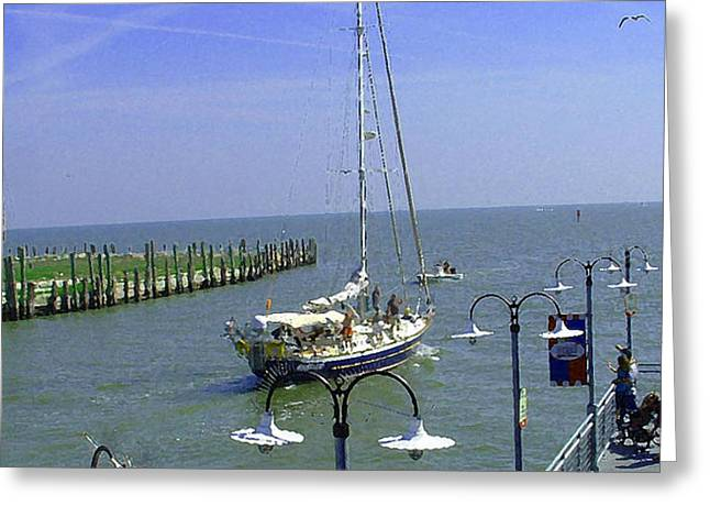 Sailboats In Harbor Digital Art Greeting Cards - Boats at Kemah Greeting Card by Fred Jinkins