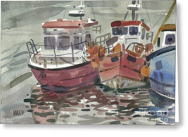 Fishing Boats Greeting Cards - Boats at Kilmore Quay Greeting Card by Donald Maier