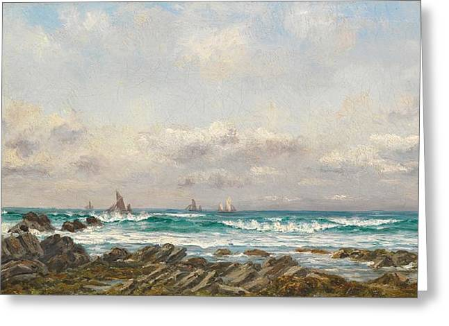 Blue Sailboat Greeting Cards - Boats at Sea Greeting Card by William Lionel Wyllie