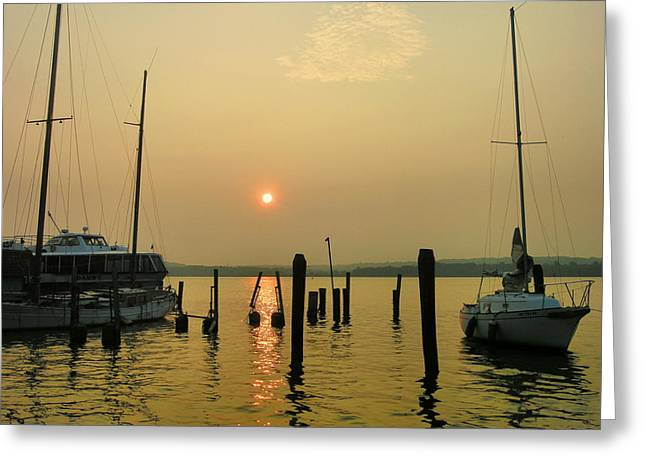 Boats At Dock Greeting Cards - Boats At Sunrise II Greeting Card by Steven Ainsworth
