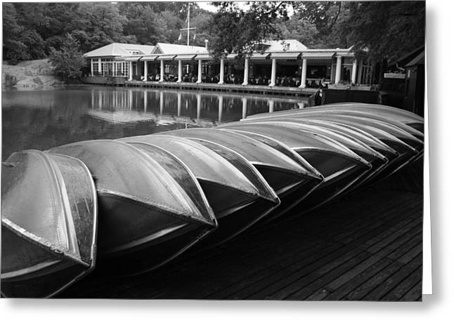 Rowboat Greeting Cards - Boats at the Boat House Central Park Greeting Card by Christopher Kirby