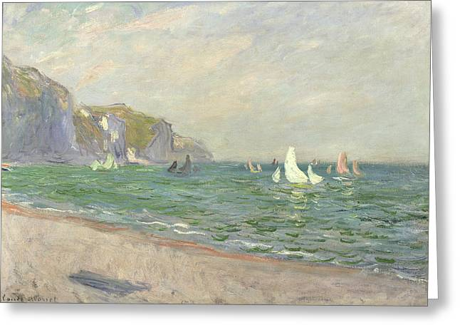 Sailing Boat Greeting Cards - Boats below the Cliffs at Pourville Greeting Card by Claude Monet