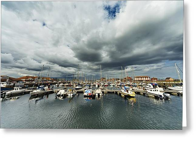 Hartlepool Greeting Cards - Boats In A Harbor Hartlepool Greeting Card by John Short