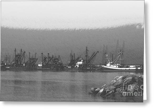 Boats in Harbor Charcoal Greeting Card by Chalet Roome-Rigdon